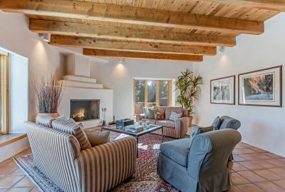 Living Room with Fireplace and Views of Sangre de Cristo Mountains