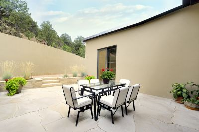 Dining Courtyard w/Santa Fe National Forest Backdrop