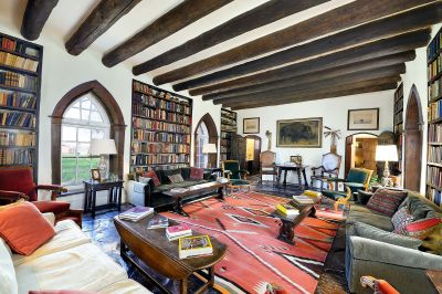 Grand Entertaining Library With Deep-Set Windows