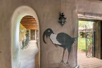 View from Carport with Hand-Painted Murals