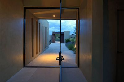 Glass Entry Looking to Courtyard