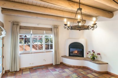 Close-up of Living Room with Gas Kiva Fireplace