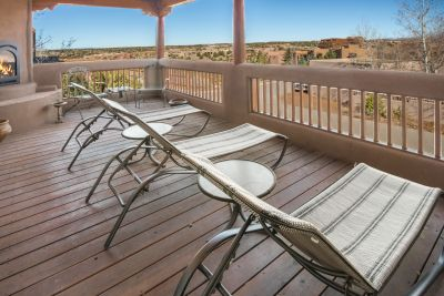 Deck/Portal with Gas Fireplace and views of Sangre de Cristo Mountains and the Jemez