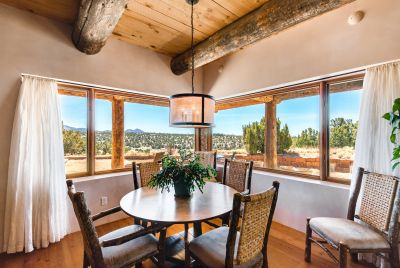 Informal Dining of the Family Room Enjoys Grand Mountain Views