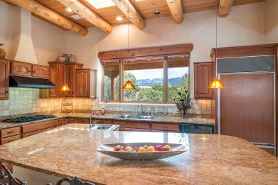 Light-filled Gourmet Kitchen has Gorgeous Views of Santa Fe Ski Basin