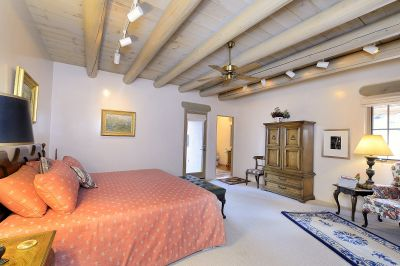 One of the guest rooms, with equal finishes as the house - fabulous plaster, high coved ceilings, large room!