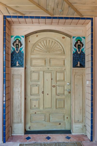 Handcarved front door from Southwest Spanish Craftsmen