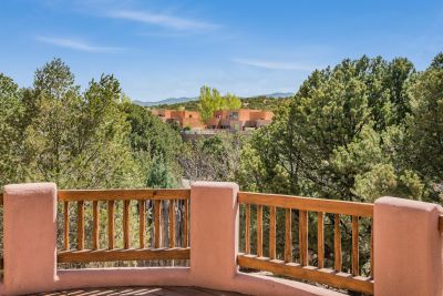 Imense entertaining deck has Sangre de Cristo mountain views