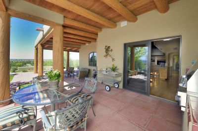 Back Portal off Kitchen and Living Room with Jemez Mountain Views