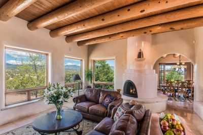 Magnificent Mountain Views from the Living Room with Two-sided Kiva Fireplace