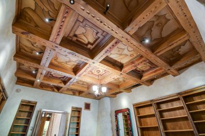 Media Room/Library - Leather Ceiling Detail