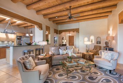 The Home has High Viga Ceilings and Faux-finished Walls Throughout