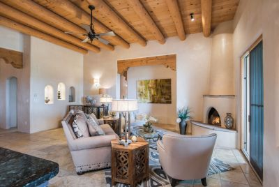 Living Room with Kiva Fireplace and Sliding Doors to Entertainment Portal