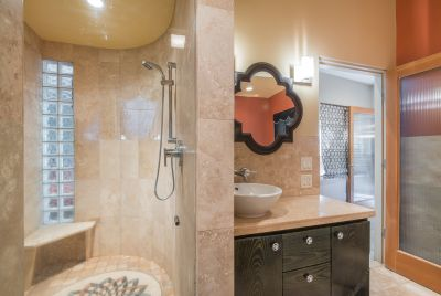 Master Bathroom with detail of walk-in shower and sink