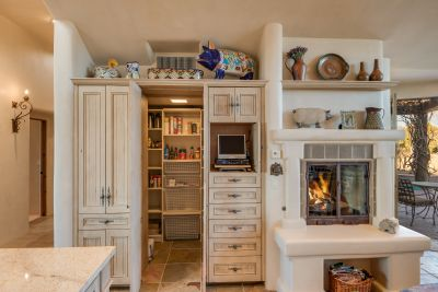 Kitchen Fireplace with Custom Cabinets & Walk-in Pantry