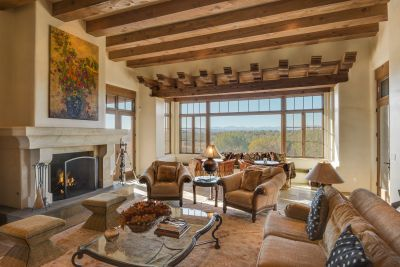 Spacious Living Room, showing the Jemez View and impressive Fireplace