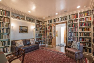 Formal Library also Serves as a Second Guest Suite with En Suite Bath
