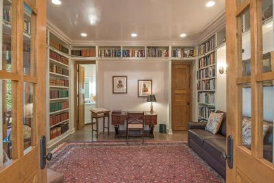 Formal Library with French Doors to the Entry Courtyard