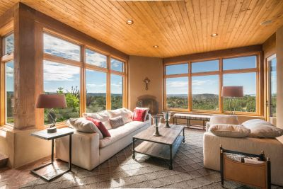 Sun Room with Fireplace and Sweeping Views