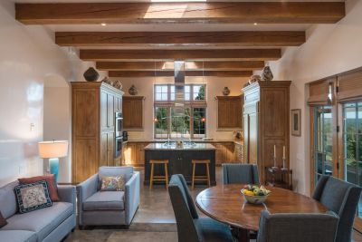 Chef's Kitchen and Family Area with French Doors to Sun Room
