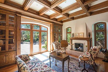 Library w/Fireplace - French Doors to Patio/Pool Area