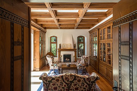 Formal Library w/Fireplace