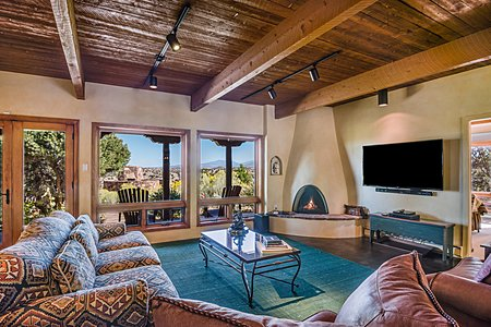 Guest House Living Room w/Fireplace - Sangre de Cristo Views