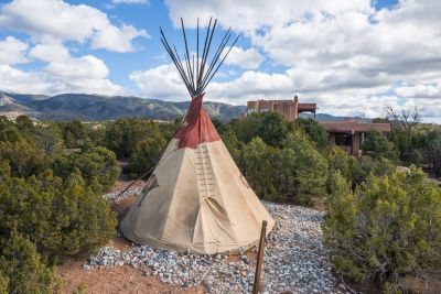 Teepee is Nestled among the Pinon and Juniper Grounds