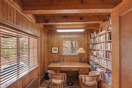 Wood paneled office/library