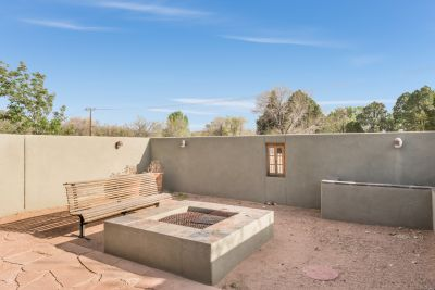 Outdoor privacy patio with gas fire-pit