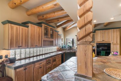 Extensive Custom Cabinets with glass blocks for natural lighting
