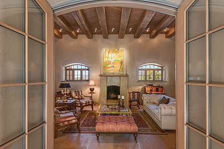 French Doors from the Central Courtyard access the Magnificent Living Room
