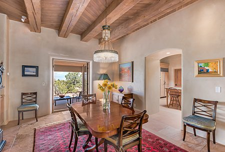 Dining Room has French Doors to the Dining Portal with Mountain Views...