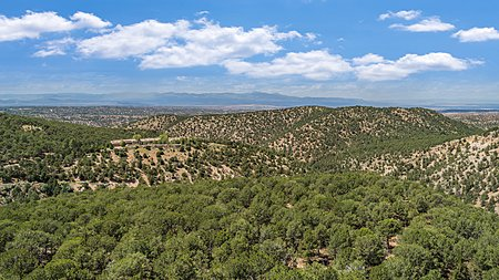 Stunning views of the Jemez Mountains and badlands