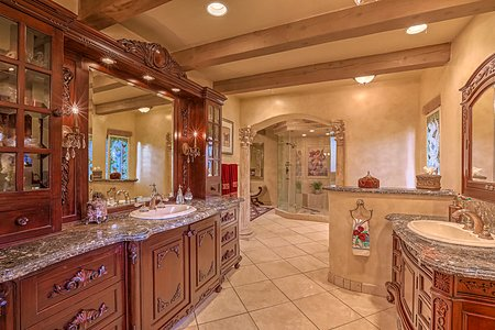 Spacious Master Bath with private patio
