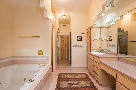 Master Bathroom has Separate Shower and Large Jetted Bathtub