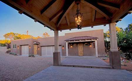 Porte-Cochere - View of Detached Art Studio/Casita, heated 3-car garage; Garden Shed