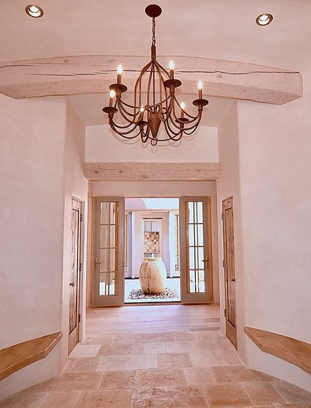 Circular Entry Foyer w/Arched Ceiling & Beams; French Limestone Floor