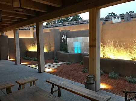 Guest Portal - Dusk - Linear Water Feature