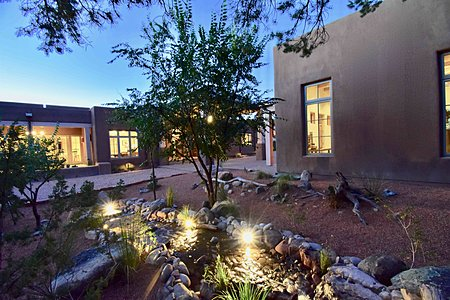 Exterior Residence; Studio/Casita; Woodland/Pond Water Feature - Night