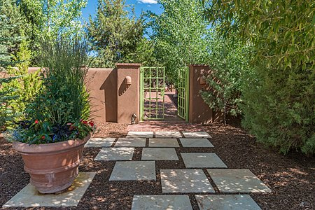 Gated Entry with Limestone Pavers