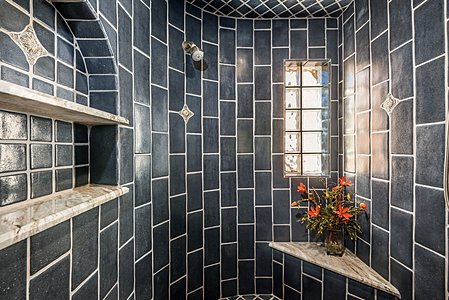 ...and Tiled Walk-in Shower