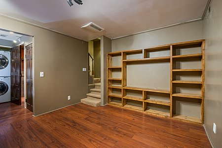 TV room in basement of Rastra home.
