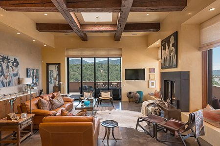 Telescoping Doors Open to Portal and Santa Fe Forrest Views