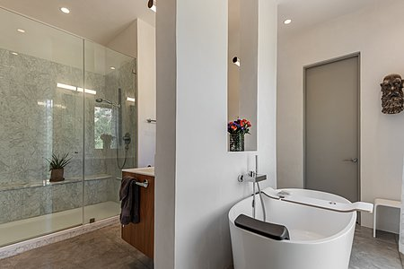 Owners' Bath with Victoria-Albert Soaking Tub and Marble Tiled Walk-in Shower...