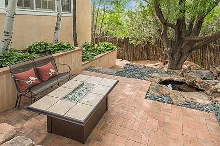 Water Feature and Raised Fire Pit