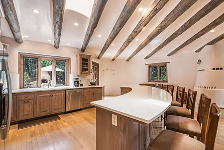 Open kitchen with curved counter