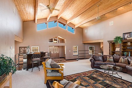 Main Living Room with Soaring Vaulted Ceilings