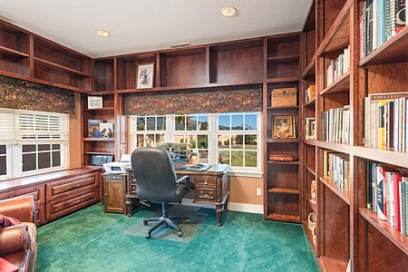 Office with Custom Wood Cabinets