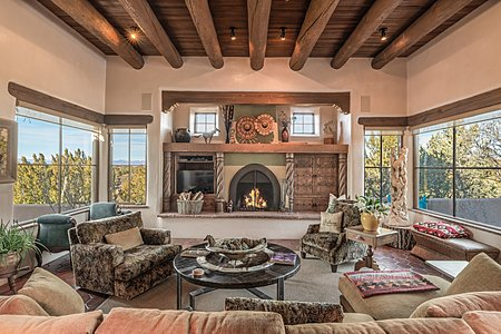 Living Room with Sangre de Cristo and Jemez Mountain Views